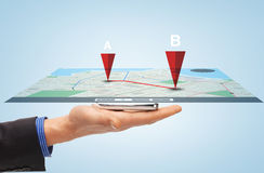 Male hand with smartphone gps navigator map Royalty Free Stock Images