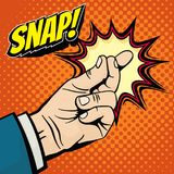 Male hand with snapping finger magic gesture. Its easy vector concept in pop art style. Finger snap gesture, snapping click gesturing expression, vector Stock Photos