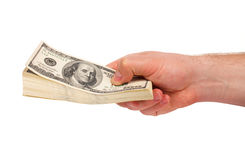Male hand with stack of dollars Royalty Free Stock Images