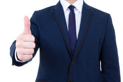Male hand thumbs up isolated on white Stock Photography