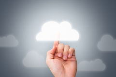 Male Hand Touching Modern Cloud Button Royalty Free Stock Image