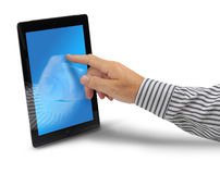 Male hand touching tablet computer. Display, isolated on white background Stock Image