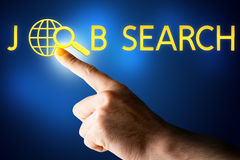 Male hand touching word job search Royalty Free Stock Image