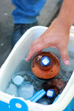 Male hand trying to grab a bottle of iced cold beer out of a portable fridge/ice bucket on a picnic Stock Photo