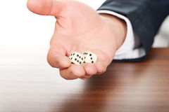 Male hand with two dices Royalty Free Stock Photography