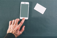 Male hand using mobile phone for communication Stock Photos
