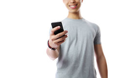 Male hand using smartphone Stock Photography