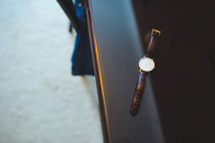 Male Hand Watch. Male elegant hand watch on table Stock Photography