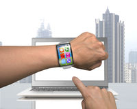 Male hand wearing smartwatch with metal watchband Royalty Free Stock Photo