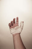 Male hand wearing wrist splint Stock Photography