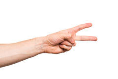 Male hand on white background. Male hand, finger(s), isolated on white background stock photography