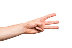 Male hand on white background Stock Images