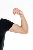 Male hand on white background. Athletic man arm on white background Stock Photos