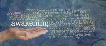 Spiritual Awakening Word Tag Cloud. Male hand with the word AWAKENING floating above surrounded by a muted gold word cloud on a rustic blue background n stock photo