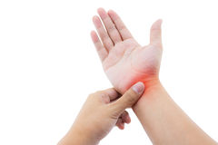male hand with wrist pain. Isolated on white ba Stock Images