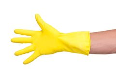 Male hand in yellow glove Royalty Free Stock Photos