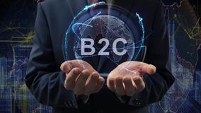 Male hands activate hologram B2C