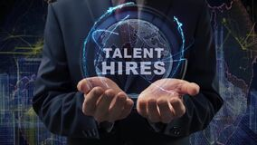 Male hands activate hologram Talent hires