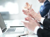 Male hands applauding after presentation of project at conferenc Stock Photos