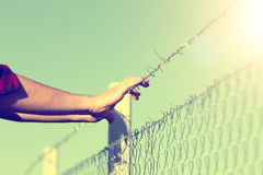 Male hands on barbed wire Royalty Free Stock Photo