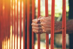 Male hands behind prison yard bars. Incarcerated captivated person in jail Stock Photography