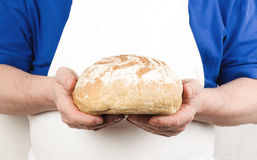 Male hands with bread Royalty Free Stock Photography