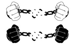 Male hands breaking steel handcuffs. Black and Royalty Free Stock Images