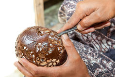 Male hands carving coconut Stock Photography