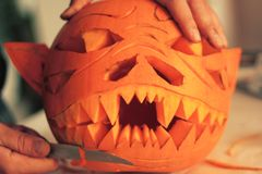 Halloween pumpkin decoration in the process of carving. Male hands carving a Halloween pumpkin royalty free stock photography