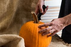 Male hands carving pumpkin Stock Image