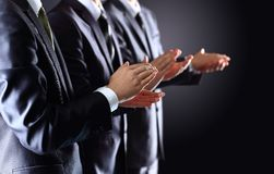 Male hands clapping on black Royalty Free Stock Images