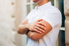 Male hands close-up. Hands of the groom. At a wedding in Montenegro Stock Photos