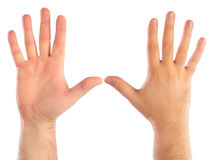 Male hands counting. Number 5 Stock Photo