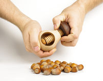 Male hands cracking hazelnuts Royalty Free Stock Photos