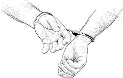 Handcuffs on hands Stock Photography