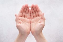 Male hands cupped together on light gray background. royalty free stock photo