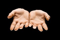 Male hands demonstrating a gesture of getting touch isolated on gray background. Getting an answer. Male hands demonstrating a request gesture or question sign royalty free stock photos