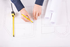 Male hands drawing an architecture project Royalty Free Stock Photography