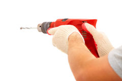 Male hands drilling hole Royalty Free Stock Photos