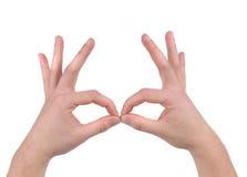 MAle hands in form of binocular. Stock Photo