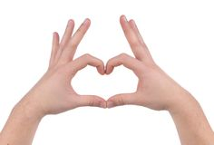 Male hands in the form of heart. Stock Images