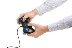 Male hands with gamepad Stock Photo