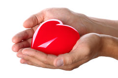 Male hands giving red heart Royalty Free Stock Images
