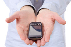 Male hands giving telephone Royalty Free Stock Images