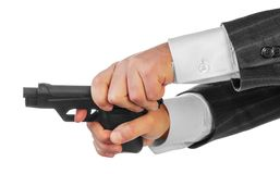 Male hands with gun Stock Images