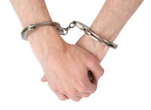Male hands in handcuffs Royalty Free Stock Photos