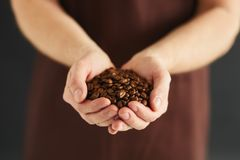Man with a handful of coffee beans. Male hands with a handful of coffee beans royalty free stock photo