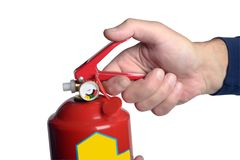 Male hands hold a fire extinguisher Stock Image