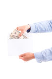 Male hands hold money with envelope isolated Royalty Free Stock Photos