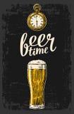 Male hands holding beer glass with antique pocket watch. Beer glass and antique pocket watch. Hand drawn design element. Vintage engraving illustration for web vector illustration